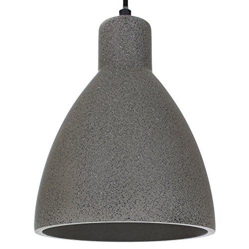 Luminaria de hormigón LED E27 lámpara colgante Luminaria suspendida LONDRES (Color: Concreto-Oscuro) Lámpara de salón Moderno Marco de hormigón con cable textil - Sin fuente de luz