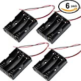 Waykino 6 PCS 3 X 1.5V AA Battery Case Holder Storage Plastic Box Battery Spring Clip Black Red Wire Leads(6pcs 3AA)