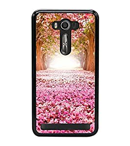 Fuson Premium 2D Back Case Cover Pink flower garden With red Background Degined For Asus Zenfone 2 Laser ZE550KL::Asus Zenfone 2 Laser ZE550KL (5.5 Inches)