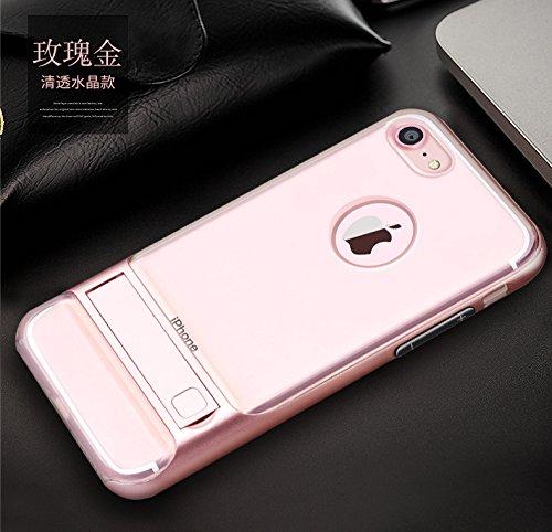 BCIT iPhone 7 Plus Custodia - ibrida Morbido resistente agli urti + Bumper Frame Dual Layer Case con Supporto di protezione per iPhone 7 Plus - Trasparente Grigio Trasparente & Rose Oro
