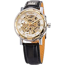 AMPM24 WINNER Skeleton Dial Men Hand-winding Mechanical Black Leather Band Wrist Watch + AMPM24 Gift Box PMW069