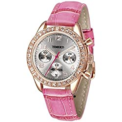 Time100 Women's Fashion Luxury Sport & Casual Cystal Big Face Three-Subdial Dial Multifunction Hot Pink Leather Strap Plated Alloy Case Laides Quartz Watches #W50298L.06A