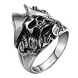 Anyeda Herren Ring Hochzeit Edelstahl Kostenlose Gravur Gothic Ringe Vintage Bands Schädel Knochenfeder Wedding Bands Größe 60 (19.1)