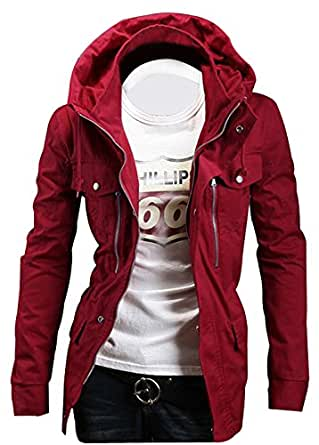 New Fashion Multi-Colour Men's Military Slim Fit Jacket Winter Trench Coat SR707 (UK L, RED)
