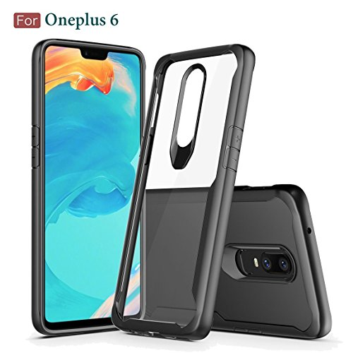 Moca Flexible Tpu Side Bumper Back Cover Case For Oneplus 6   Transparent With Black Corners