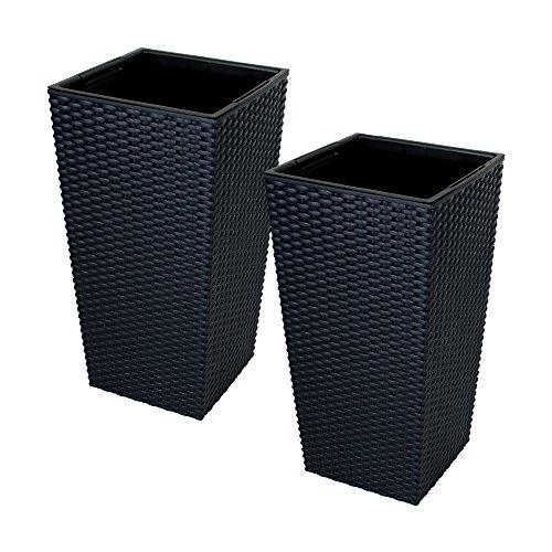 2x CrazyGadget® grande ratán de alto maceta de plástico cuadrada Jardín Maceta de flores de interior y exterior, plástico, negro, 26.6L