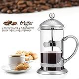 sailnovo Kaffeebereiter Kaffeebereiter Edelstahl Kaffeebereiter aus Glas Tee, silber Kolben und französischen Presse Kaffeemaschine Maker, 1000ml, 34oz (Silver)