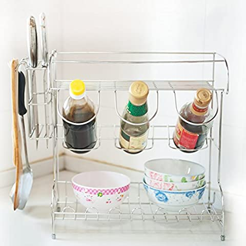DXP 2 Tier Kitchen Plate Dish Drainer Rack With Bottle Cup Holder Stainless Steel New JLS05