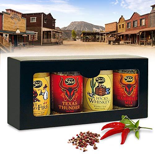Monsterzeug Cowboy Grillgewürze Geschenkset, BBQ Gewürze 4er Set, Wilder Westen Edition, Barbecue-Senf Light My Fire, Hicks Whiskey-Senf, TexasThunder Gewürz, Barbecue Mix