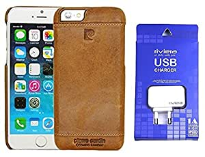 D'clair Premium Pierre Cardin Leather Back Cover Case and Riviera One Port wall Chargerfor iphone 5s - Brown