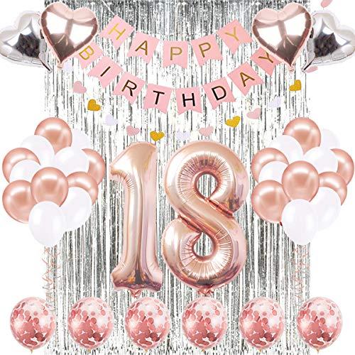 18. Geburtstag Dekorationen Banner Ballon, Happy Birthday Banner, 18. Rose Gold Anzahl Ballons, Nummer 18 Geburtstag Ballons, 18 Jahre alt Geburtstag Dekoration (Happy 18 Birthday)
