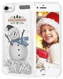 wlooo Weihnachten hülle für iPod Touch 6, Glitzer Weihnachtsbaum Santa Claus Stars fließenden flüssigen Treibsand klar weichen Silikon TPU Luxus Bling Handyhülle Frau Jungen Mädchen Kinder Geschenk