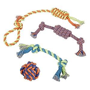 Jouets en Corde pour Chiens – Lot de 4 Jouets Différents pour Petits et Gros Chiens – Conviennent aux Mâchoires Puissantes – 100% Coton – Lot Comprenant une Balle, une Corde Épaisse à Ronger, une Cord