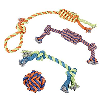 Rope Dog Toys – Set Of 4 Different Toys For Large and Small Dogs – Suitable For Aggressive Chewers – 100% Cotton – With Ball, Thick Teething Rope, Tug-Of-War Toy and Fetching Bone