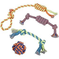 Juguetes de Cuerda para Cachorros, Perros Pequeños y Grandes (x 4) | Accessorios de Algodón Trenzado Robusto para Perro | Para Juego y Dentición | Pelotas, Hueso, Cuerdas para Tironear y Morder