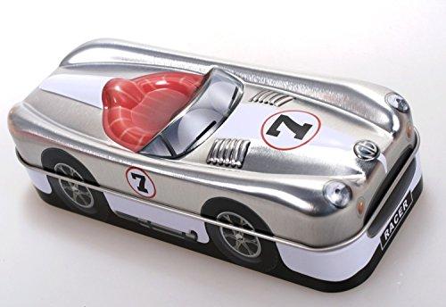 Blechdose Rennwagen silber 15 cm Keksdose Deko-Box Auto Dose Oldtimmer Formel 1 -