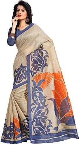 Samskruti Sarees Women Art Silk Printed Saree (SPAS-62,Beige)