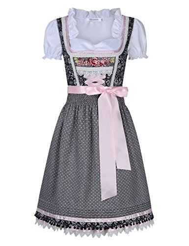 KOJOOIN Trachten Damen Dirndl Kurz/Lang - Midi Trachtenkleid für Oktoberfest - DREI Teilig: Kleid, Bluse, Schürze Grau 44/XL