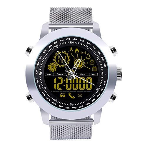 Muzhili3 DX18 Hintergrundbeleuchtung Wasserdichte Runde Analoge Pedometer Bluetooth Smart Watch Armband Silver