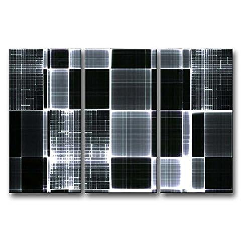 3panneau Noir et blanc Décoration murale Tableau Carreaux Impressions sur toile images à la abstraite à l'huile pour Home Décor Imprimé moderne Décoration pour meuble