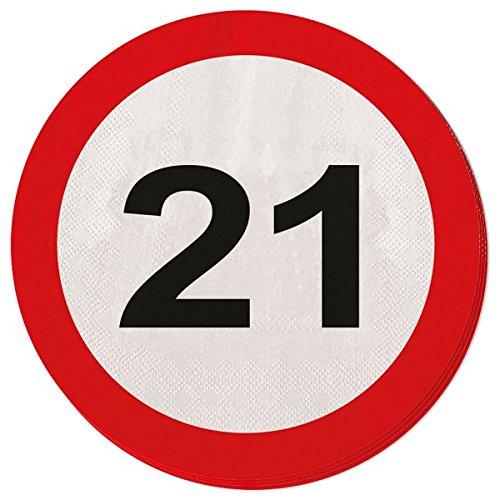 Carretera servilleta signo de número 21 cumpleaños 20St. Escudo partido