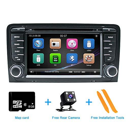 Autoradio Stereo, ZLTOOPAI Für Audi A3 S3 RS3 Doppel 2 Din 7 Zoll Digital Multi-Touchscreen Autoradio GPS Radio DVD-Player mit Freikarte Rückfahrkamera Removal Tools