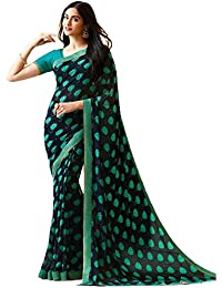 KAMELA SAREE women's silk material Sky Blue colour Printed Party wear saree With Blouse