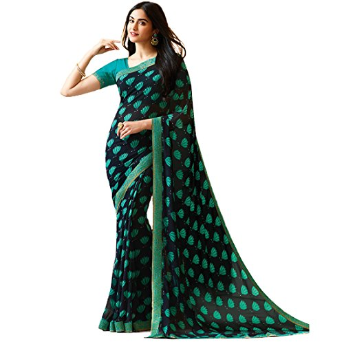 Visat Designer Women's Georgette Printed Border Work sarees for women latest design...