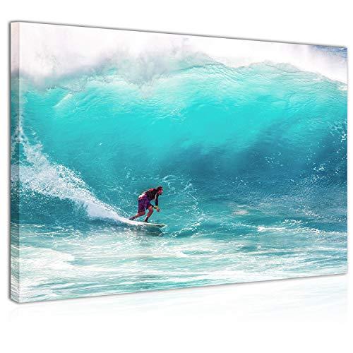 Topquadro Wandbild, Leinwandbild 70x50cm, Surfen, Sport, Hohe Wellen, Meer und Ozean, Extremsportarten - Keilrahmenbild, Bild auf Leinwand - Einteilig