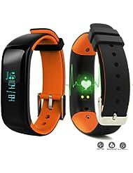 ROGUCI Fitness moniteur de fréquence cardiaque suivi pédomètre sommeil suivi sommeil bracelet et le rythme cardiaque bracelet de fitness avec moniteurs Pulse / Pulse vibrent bande fonction d'alarme