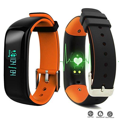 Reloj Resistente Pulsera Actividad Bluetooth Podómetro Deporte Monitor Ritmo Cardíaco Contador de Presion Arterial / Sueño / Calorías y Notifica para Teléfono Android ios Smartphone con móvil (Naranja)