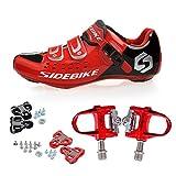 TXJ Rennradschuhe Fahrradschuhe Radsportschuhe mit Klickpedale EU Größe 46 Ft 29cm (SD-001 Rot/Schwarz)(pedale rot)
