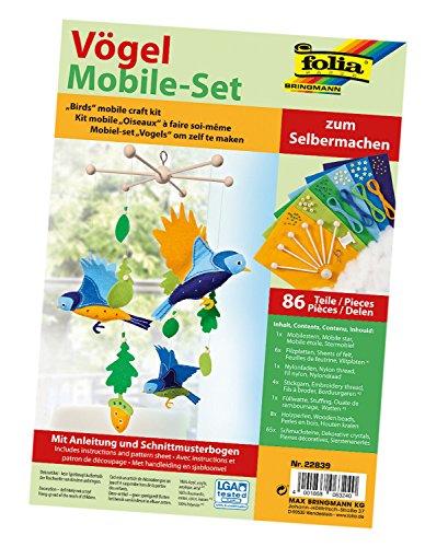 folia 22839 - Mobile Set Vögel zum Selbermachen, mit 86 Teilen, Anleitung und Schnittmusterbogen - Komplettset zur Erstellung eines Mobiles Set Mobile