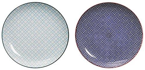 Tokyo Design Studio, 2 Assiette en porcelaine, Diamètre 26cm - Coffret de 2, Geometric Eclectic