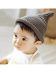 El sombrero del bebé del invierno del otoño 0-6-12 Meses Mantenga casquillo de las lanas que hace punto caliente Manual ( Color : Gray )