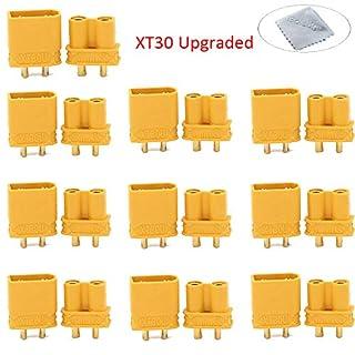 Boladge 10pcs Amass XT30U 2mm Banana Plug Male Connector + 10pcs XT30U Female Connection Adapter (Upgraded XT30)