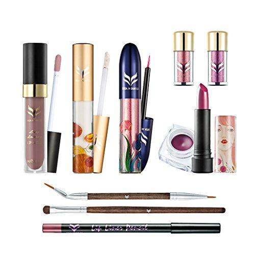 MagiDeal 10pcs Glitter Fard à Paupières Pigment Cils Rouge à Lèvres Correcteur Crème Brosse Ensemble pour Maquillage des Femmes