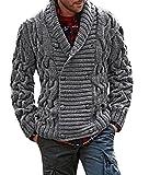 Pommaxe Herren Strickjacke Dicken Mantel V-Ausschnitt Revers Wolle Einfarig Pullover Mit Knöpfe