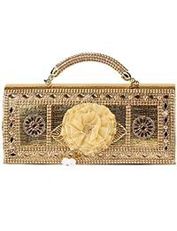 Prasiddhi Yellow Flower, Golden Ladies Handbag Purse Clutch Ethnic Sling Side Bag Gift For Women