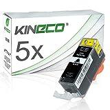Kineco 5 Tintenpatronen Kompatibel zu Canon PGI-525 PGI525 für Canon Pixma MG5350, Pixma iP4950, Pixma MG5250 - Schwarz je 20ml
