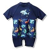 One-piece Kids Baby Boy Girl Floating Buoyancy Swimsuit Swimwear Float Suit Floating Swim Trainer with Cute Shark Print (70?6M-12M?, Dark Blue)