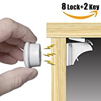 Magnetic Cupboard Lock for Baby - HomySnug Child Safety Locks for Cabinet and Drawer, 8 Lock and 2 Key