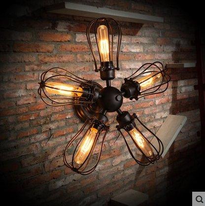 SDKKY Idee di illuminazione in ferro battuto d'epoca lungo soffitto