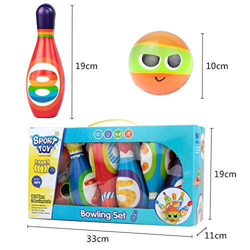 yoptote Bolos Infantiles Sets de Bolos Juguete Bowling Juegos Exterior Jardin 10 Pins Juego de Bolos Esponja N/úmero Pelota Ni/ño 3 A/ños+