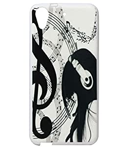 Headphone Girl Exclusive Rubberised Back Case Cover For HTC Desire 626G Plus (626G+)