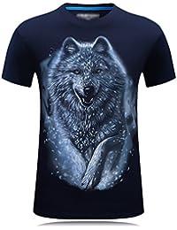 Cayuan Camisetas da Manga Corta Hombre 3D Lobo Animal Graphics Imprenta tee  Shirt Verano Loose O c7e2519a9ea
