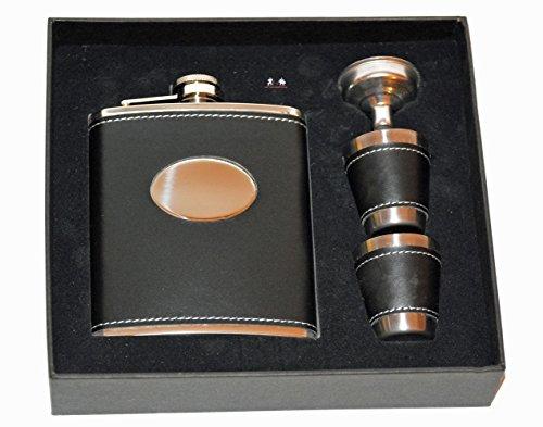 all-around24® Flachmann aus Edelstahl Taschenflachmann Taschenflasche (ca.200ml, mit Trichter und Bechern Geschenkbox)