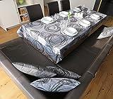 beties Mystik Mitteldecke ca. 80x80 cm abstraktes Kringel-Design in schwarz auf dunklem Background in 100% Baumwolle Platin Schwarz - 7