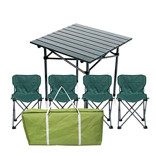 Betty Tabelle Outdoor Klapptisch Und Stuhl Set Wild Tragbare Grill 3-7 Stück Set Haushalt Aluminium Tisch Und Stuhl Kombination (Color : B -1 Square Table+4 Chairs) - Perfekte Stuhl Square Stuhl