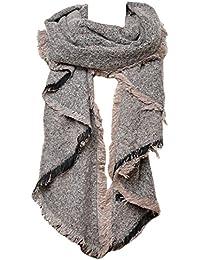 Mevina Schal Oversized XXL mit Fransen und Wolle Winterschal Dreieck groß rechteckig Spitz Schal